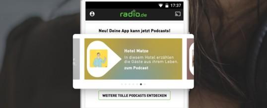 Großes App-Update: Die neue App von radio.de verbindet Podcatcher und Radioplayer in einem Service und sorgt so für einfachen Zugriff und schnelle Orientierung in der riesigen Audiowelt