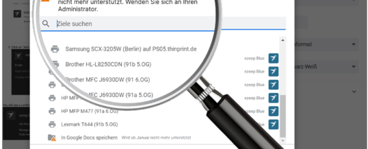 ezeep Chrome Extension ersetzt Google Cloud Print