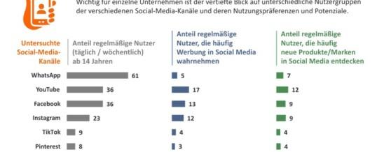 Trendmonitor Deutschland: Welche Nutzerprofile und welche Werbepotenziale Facebook, Instagram, YouTube & Co. haben