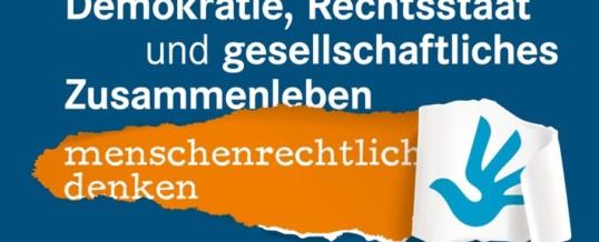 Einladung Online-Debatte 19. März / Demokratie, Rechtsstaat und gesellschaftliches Zusammenleben menschenrechtlich denken