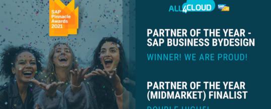 All4cloud erhält den SAP Pinnacle Award 2021 in der Kategorie Business ByDesign